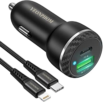 YEONPHOM Fast USB C Car Charger Compatible for iPhone 12 Pro Max/Mini/11 Pro Max/11/XS MAX/XR/X/8/SE,36W Dual Port QC3.0 Type C PD Car Charger Adapter with MFI Certified 6ft USB C to Lightning Cable