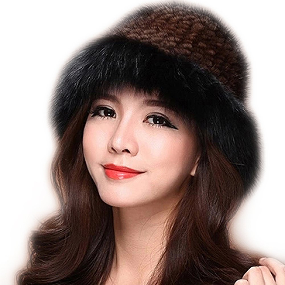 Women Fur Knitted Winter Hat Genuine Mink with Fox Trim and Fox Top Women Winter Cap (Brown with Black)