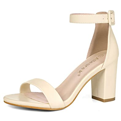 358ece6aa Allegra K Women's Ankle Strap Heel Sandals Beige 3.5 UK/Label Size 5.5 US