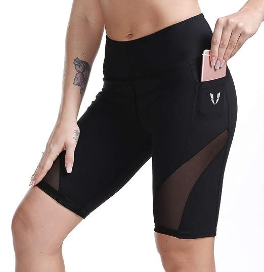 10191a7081 FIRM ABS Women's High Waist Yoga Shorts Running Workout Sports Mesh Shorts  Pants Black XS