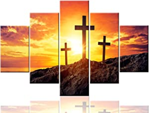 Jesus Cross for the Wall Patriotic Pictures Religious Paintings for Living Room Christmas Decorations 5 Pcs/Multi Panel Canvas Art Modern Artwork Framed Ready to Hang Posters and Prints(60''Wx40''H)
