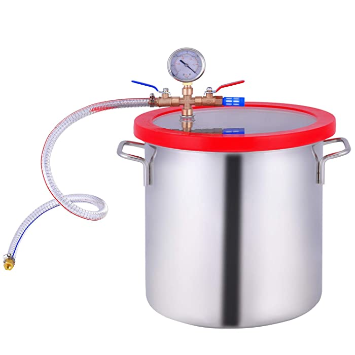 PBAUTOS Vacuum Chamber Stainless Steel, Tempered Glass Lid Pressure Degassing Chamber, Pressure Pot for Resin Casting, Stabilizing Wood Products, Degassing Silicones and Essential Oils (3 Gallon)