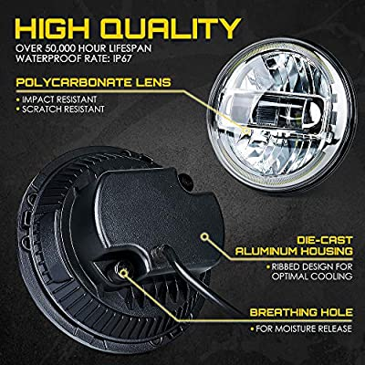 Xprite 7 Inch CREE LED Headlights DOT Approved with Hi/Lo Beam, Halo DRL Round Headlamps for 1997-2020 Jeep Wrangler JK LJ CJ TJ Hummber H1 H2: Automotive