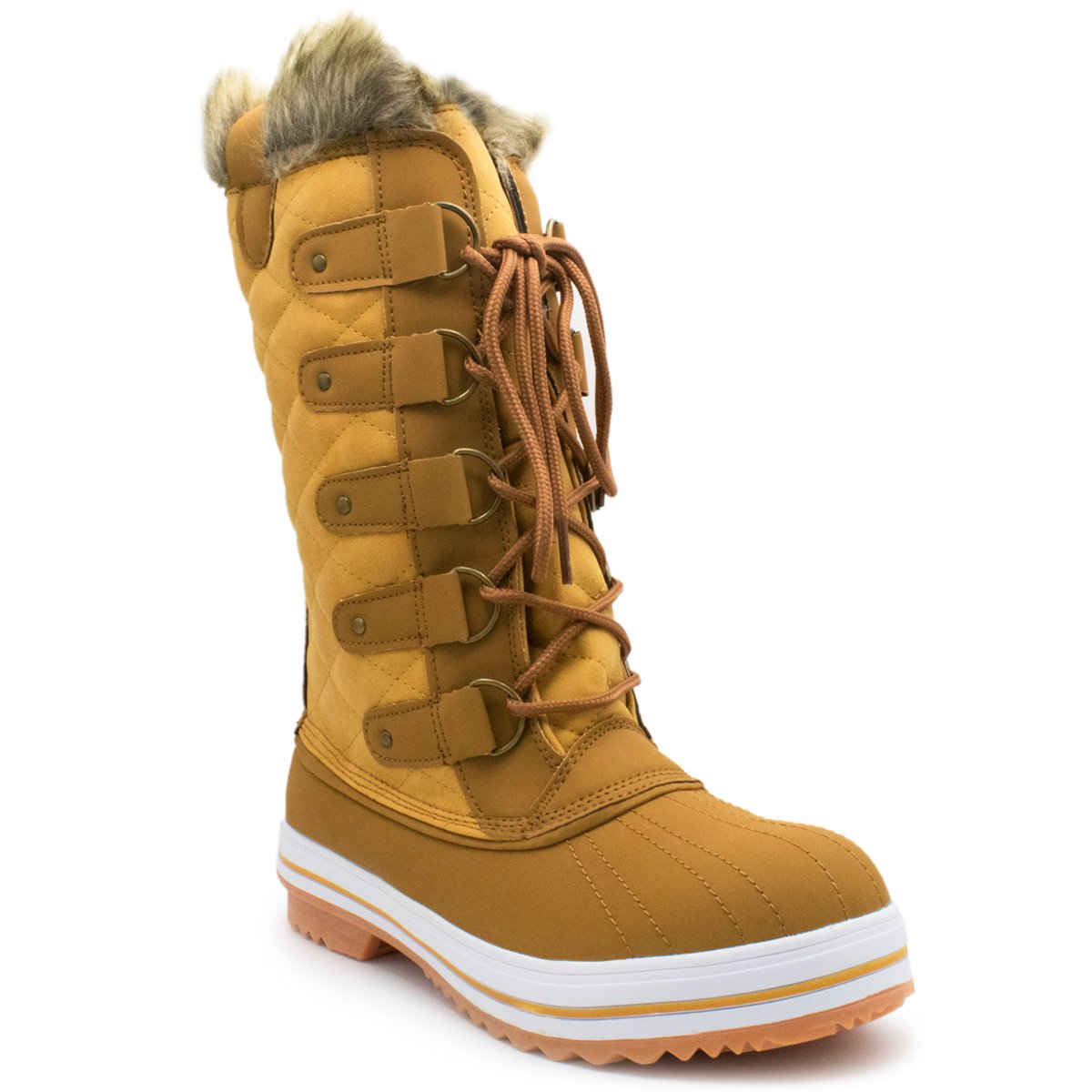 Premier Standard Women's Swiss Lace Up Quilted Mid Calf Winter Snow Boots B078B8TX2V 5.5 B(M) US|Premier Tan