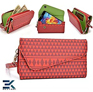 RED : Woman's Phone Wrislet Cover Case Purse Alcatel One Touch Fire E Bonus Ekatomi Screen Cleaner