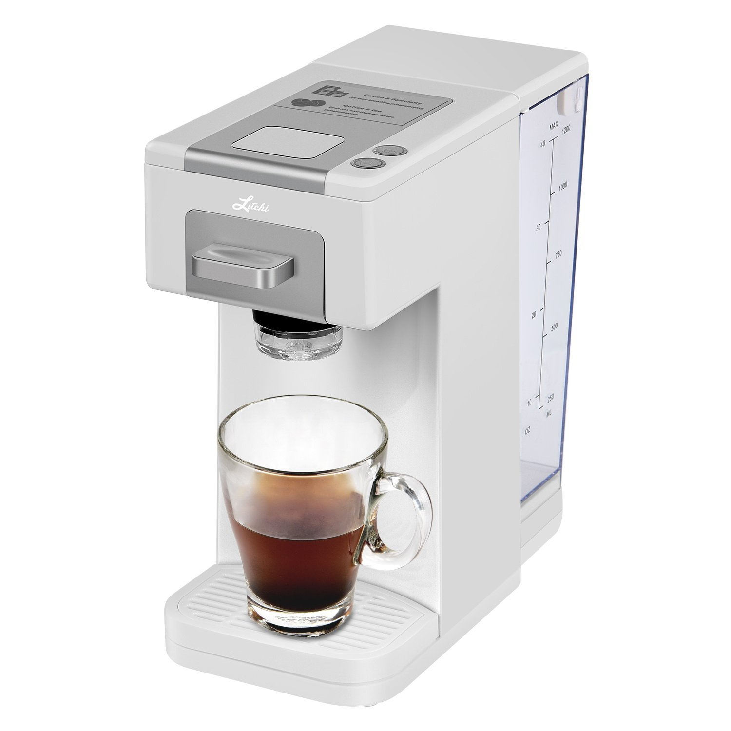 Litchi Single Serve Coffee Maker, Coffee Machine for Most Single Cup Pods Including K Cup Pods, Quick Brew Technology 4 Cup Coffee Maker, White by Litchi