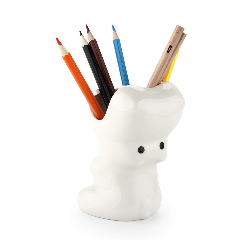ComSaf Cute Hippo Shaped Pen Pencil Holder, White Ceramic Succulent Planter Pots for Home Office Decoration Desk Organization, Set of 1