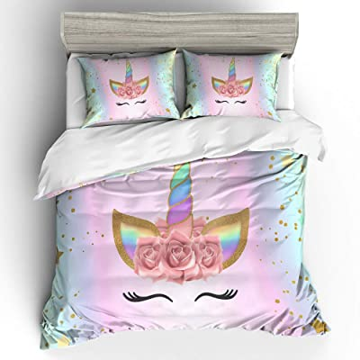 Suncloris,Emoji Unicorn,Kids' Gift Home Bedding Sheet Set.Included:1 Duvet Cover,2 Pillowcase(no Comforter Inside) (Full): Home & Kitchen