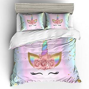Suncloris,Emoji Unicorn,Kids' Gift Home Bedding Sheet Set.Included:1 Duvet Cover,2 Pillowcase(no Comforter Inside) (Queen)