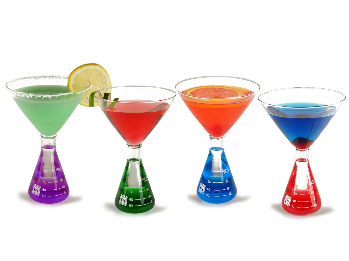 Periodic Tableware Erlenmeyer Flask Martini Glasses (4-color)
