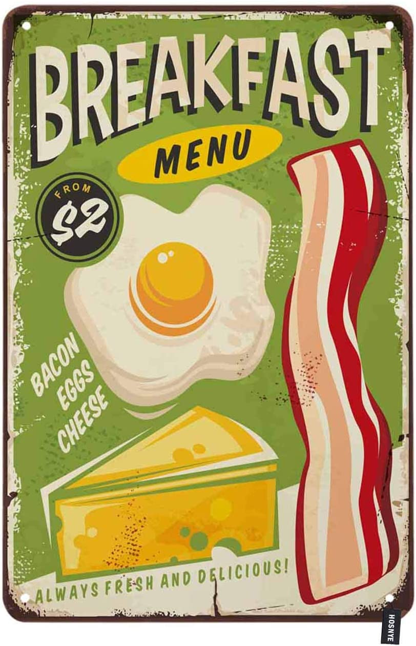 HOSNYE Breakfast Menu Tin Sign Food Poster Bacon Eggs Cheese Green Backdrop Vintage Metal Tin Signs for Men Women Wall Art Decor for Home Bars Clubs Cafes 8x12 Inch