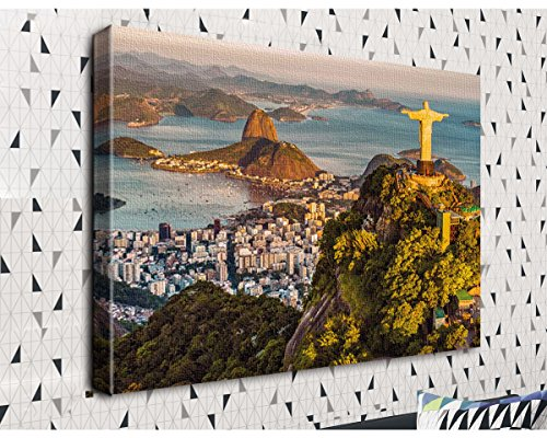COLORSFORU Rio de janeiro statue Custom Canvas Print 20x16 Inch Framed Home Office Wall Decor Art Print Poster Ready To Hang (De Rio Statue Janeiro)