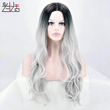 Zxlife Wig® Europa Y Los Estados Unidos Caliente Peluca Gris Blanco Degradado Peluca Femenina Larga