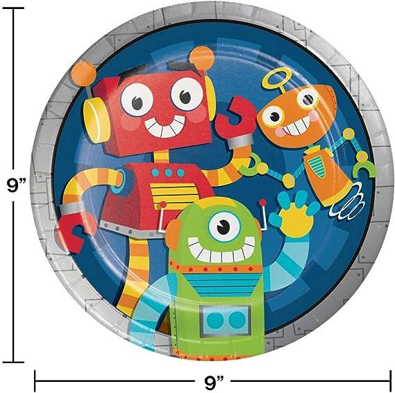 Amazon.com: Fiesta Robots tema platos y servilletas sirve 16 ...