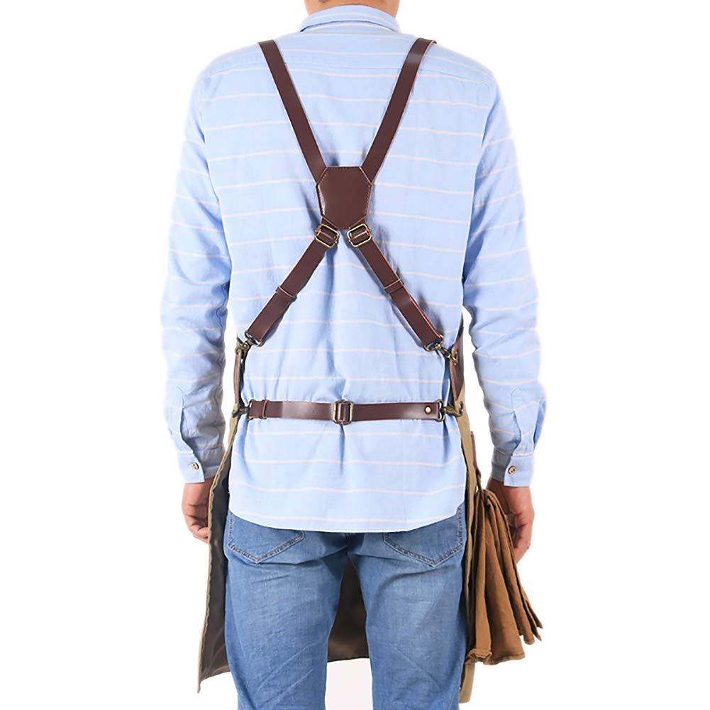 Adjustable Work Apron for Engineers Carpenter Kitchen Garden Pottery Crafting Heavy Duty Waxed Canvas Barber Tool Apron