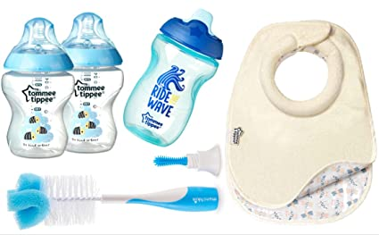 Tommee Tippee azul Closer to Nature decorado botellas x 2 – Paquete con 2 baberos de
