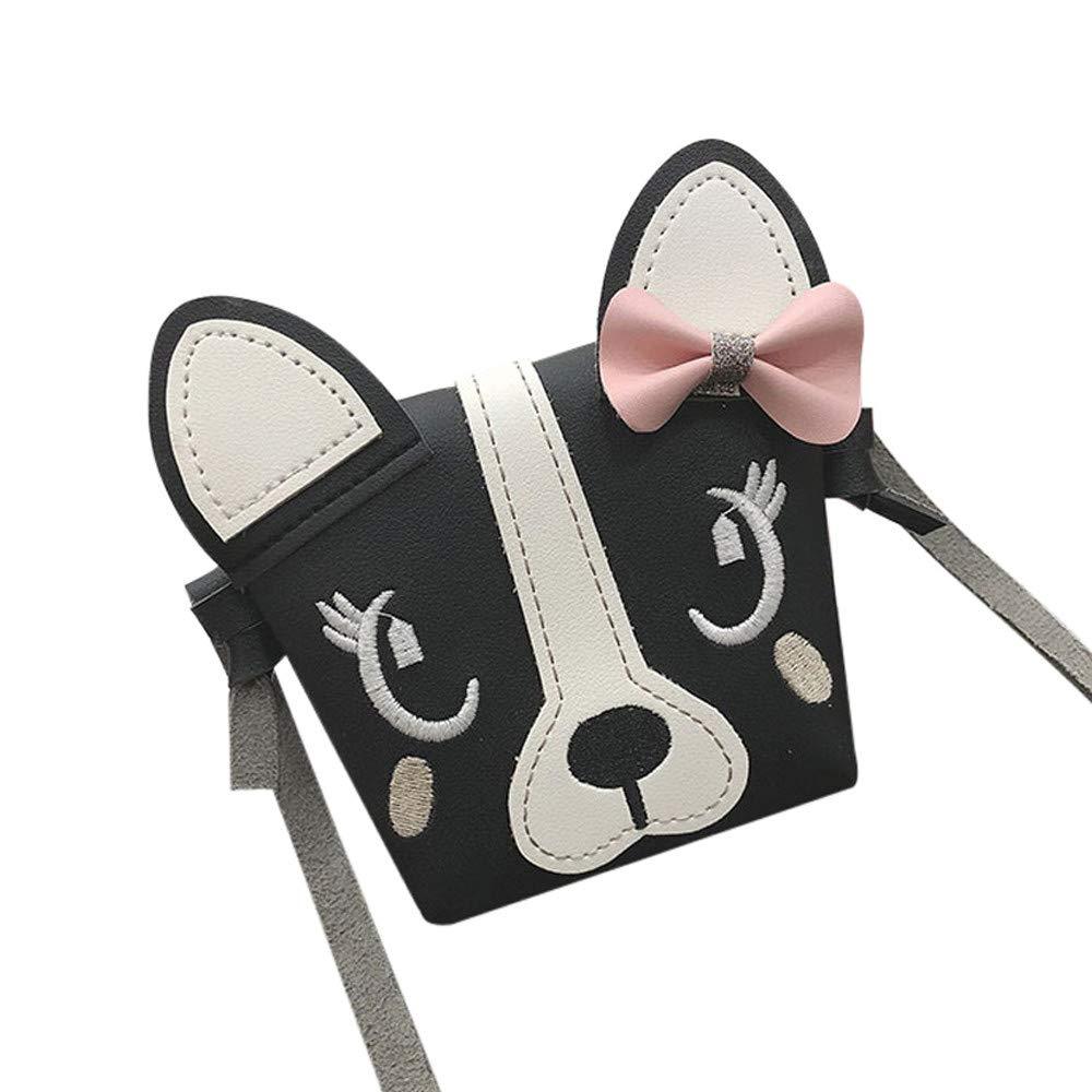 Children Cute Animal Bowknot Leather Crossbody Bag Mini Shoulder Bag Messenger Bags Handbags Totes Phone Coin Bag Wallet Black