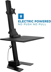 Mount-It! Electric Standing Desk Converter, Motorized Sit Stand Desk with Single Monitor Mount and iPhone/Tablet Slot, Ergonomic Height Adjustable Workstation, Black (MI-7951)