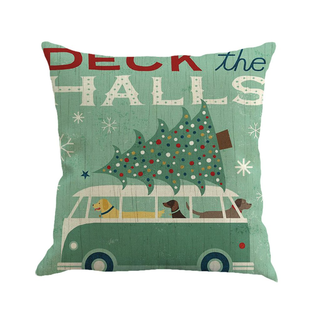 Christmas Printing Dyeing Sofa Bed Home Decor Pillow Cover Cushion Cover C