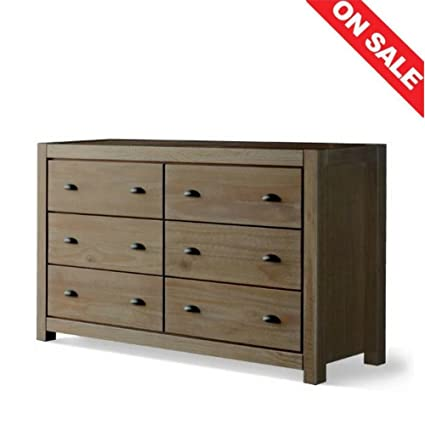Amazon Com 6 Drawer Double Dresser Cabinet Bedroom Wall Furniture