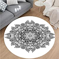 Nalahome Modern Flannel Microfiber Non-Slip Machine Washable Round Area Rug-Classic Cycle of Life Form Religious Force and Grace Figure God Sacred Image Black White area rugs Home Decor-Round 55