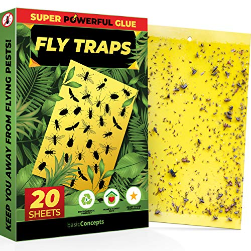 Fruit Fly Traps (20 Pack), Yellow Sticky Traps (Indoor and Outdoor), Gnat Sticky Traps, Fruit Fly Killer, Plant Bug Sticky Traps (Aphids, Whiteflies, and More), Gnat Trap, Fruit Fly Traps for Kitchen