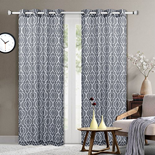 Moroccan Pattern Linen Blend Curtains, Geometric Lattice Print Linen Blend Grommet Window Curtain Panels for Living Room with Tiebacks - 52 x 63 Inches, Grey (2 Panels) Geometric Curtain