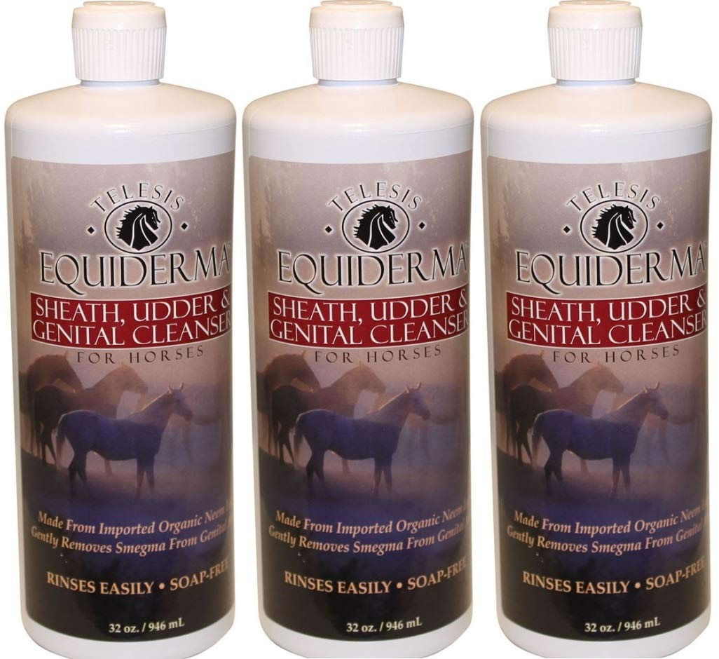 Equiderma Sheath and Udder Cleanser for Horses, 32 Ounces Per Bottle (3 Pack - 32 Ounces) by Equiderma