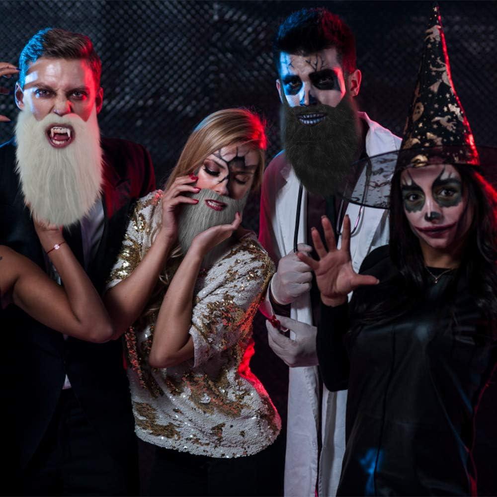 4 Colori chudian 4 Pezzi Finta Barba Divertente Costume Barba Halloween Baffi Costume Barba Falso per Uomo Donna Feste di Halloween Masquerade Costumi Accessori