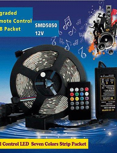 HJLHYL MND150pcs 5m smd5050 de alto brillo llev 20 teclas siete colores sonoros tiras llevadas rgb de control remoto IP44 , rgb