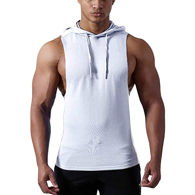 Gtealife Men s Workout Hooded Tank Tops Bodybuilding Muscle T Shirt  Sleeveless Gym Hoodies (White 22feae6e0