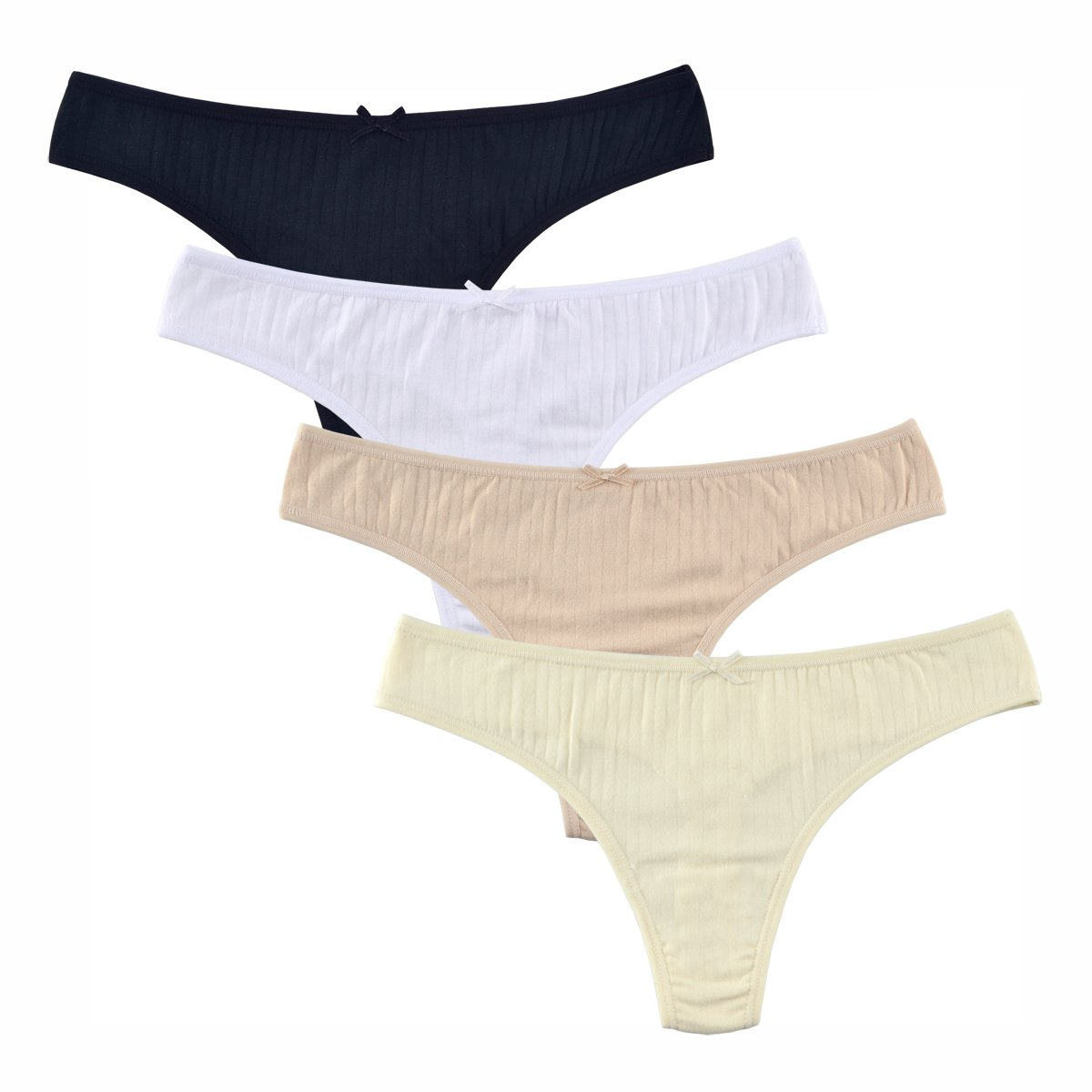0cbd0c6c7c1 Knitlord Cotton Thong Panties Underwear 4 Pack for Women at Amazon Women's  Clothing store: