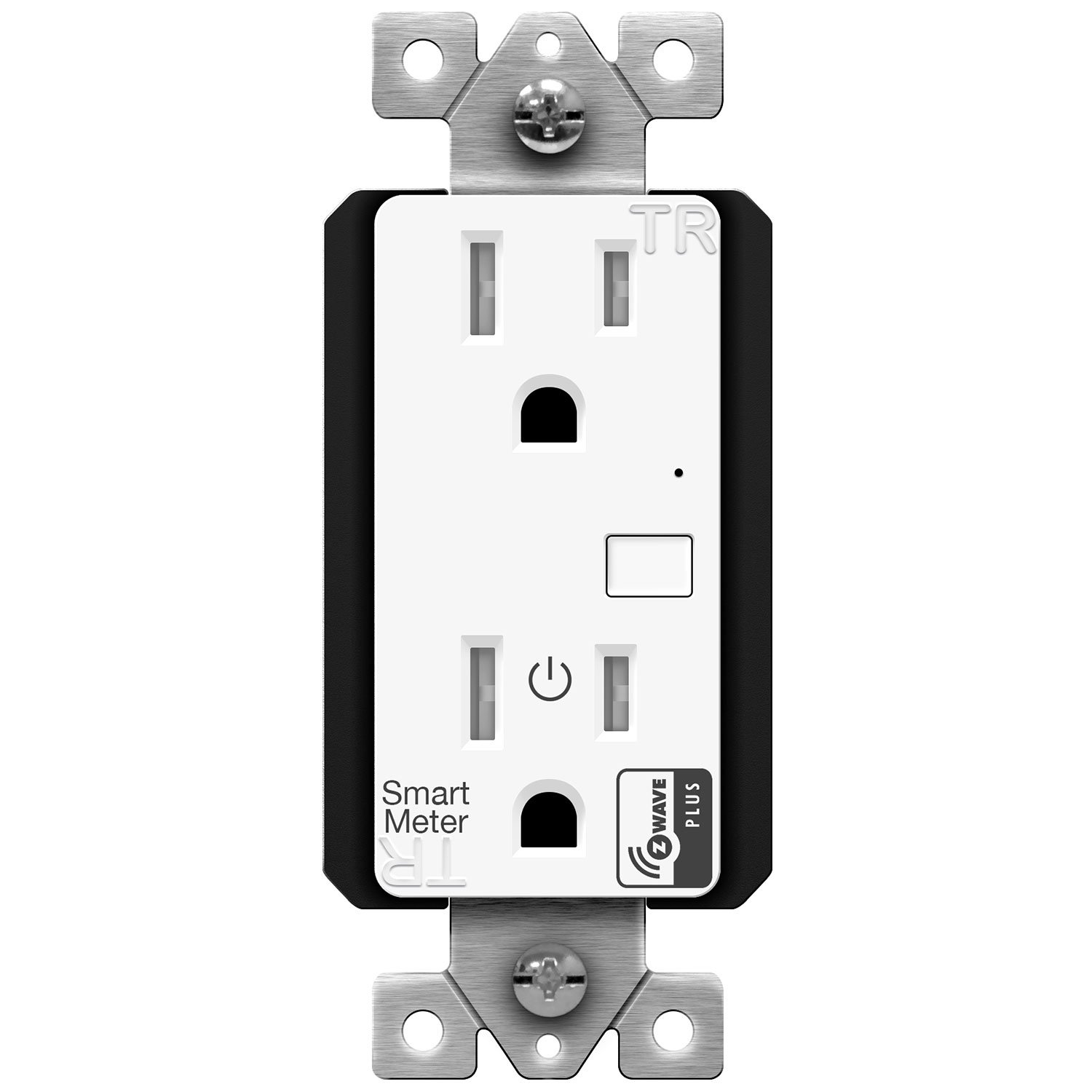 Enerwave ZW15RM-PLUS Z-Wave Plus Wall Outlet with Smart Meter Energy Monitor, Smart Outlet, Z-Wave Outlet, App-Controlled Outlet for Z-Wave Home Automation, Interchangeable Face Covers
