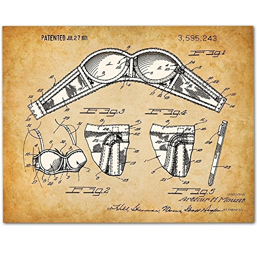 Bra Art - 11x14 Unframed Patent Print - Great Decor for Dressing Room or Bathroom - Bra Tag