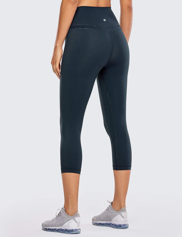 CRZ YOGA Donna Vita Alta Yoga 3//4 Capri Pantaloni Sportivi Leggings con Tasche Sensazione Nuda 48cm