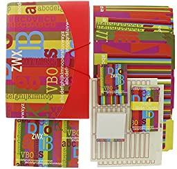 Multicolor Alphabet Letters Designed Office Organization Supplies Desk Accessories Kit, File Folders, Expanding File Folders, Note Pads, Labels, & More