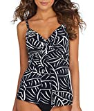 Miraclesuit Women's Love Knot Underwire Bra Tankini Top Black/White 14DD