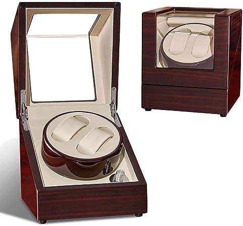 FXQIN Doble enrollador para Relojes automáticos, Caja de enrollador de Reloj de Madera para Relojes Rolex, Estuche de Almacenamiento de Doble Reloj con Motor silencioso,UKPlug: Amazon.es: Hogar