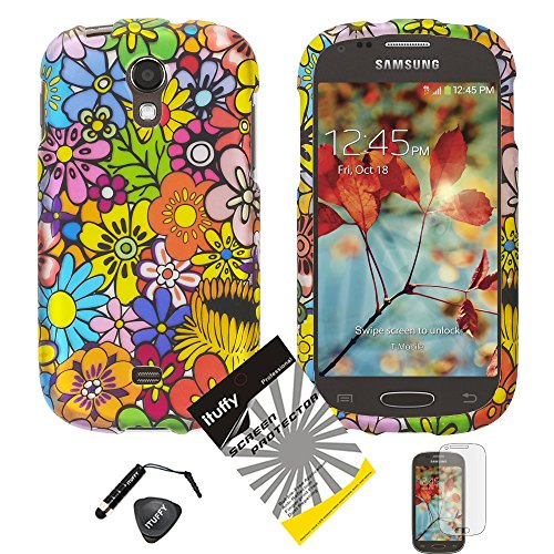4 items Combo: ITUFFY (TM) LCD Screen Protector Film + Mini Stylus Pen + Case Opener + Design Rubberized Snap on Hard Shell Cover Faceplate Skin Phone Case for Samsung Galaxy Light 4G LTE T399 (T-Mobile / MetroPCS) (Color Daisy) ()