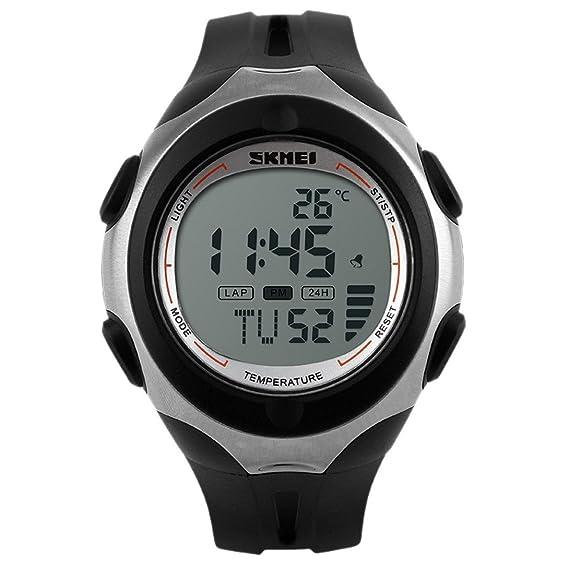 Panegy - Reloj Digital Deportivo con Doble Horarios y Múltiples Funciones Termómetro para Hombres-Color Blanco: Amazon.es: Relojes