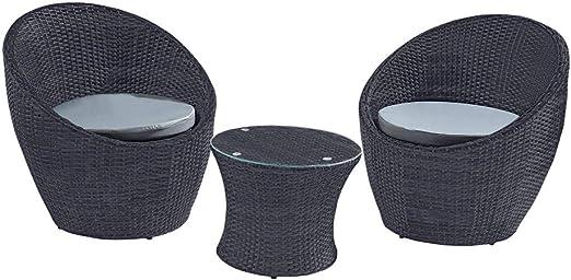 Trueshopping Juego de Muebles de Jardín de Ratán: Mesa y Sillas para Exterior Resistentes a la