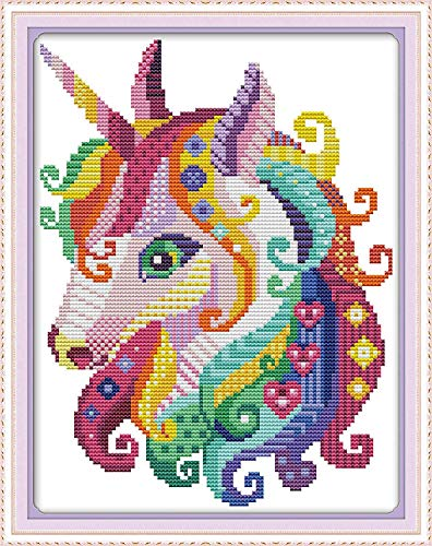 Cross Stitch Stamped Kits Pre-Printed Cross-Stitching Starter Patterns for Beginner Kids or Adults, Embroidery Needlepoint Kits Unicorn in Garden (Renewed)