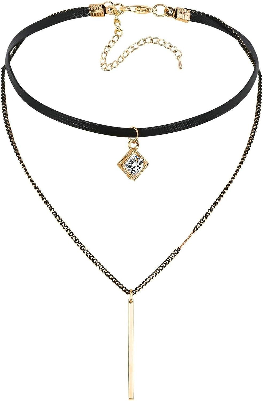 ANAZOZ Collar Dos Capas con Cuadrado Circonita Blanca Colgantes Acero Inoxidable Mujer Collar Oro Negro