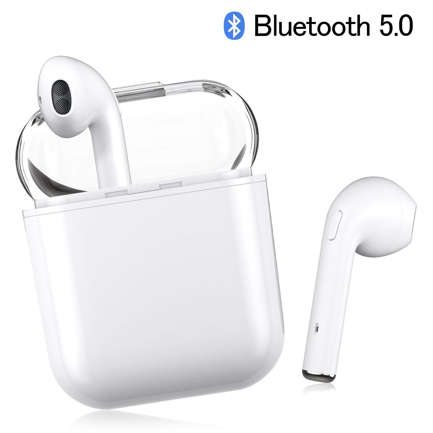 I8X Bluetooth Headset 5.0 Earphones Sports Headphones Noise Reduction Sports Sweat HD Hands-Free Calling Stereo Headphones Microphones and Charging Cases Unisex