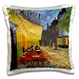 3dRose pc_155653_1 Cafe Terrace at Night x Vincent Van Gogh 1888 Restaurant French Street Painting Coffeehouse Pillow Case, 16'' x 16''
