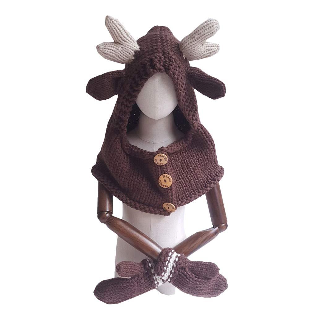 BESTOYARD Cute Dear Hat Glove Set Animals Caps Neck Warmer Wrap Wool Knitted Beanie Gloves for Children Kids (Brown)