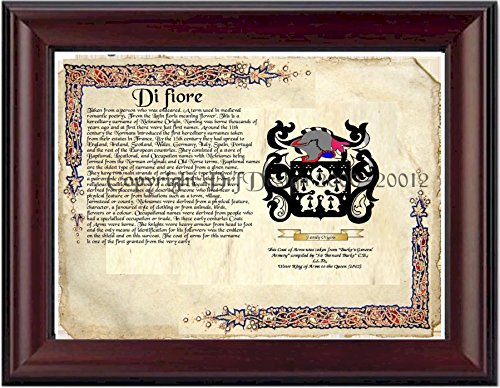 Di fiore Coat of Arms/ Family Crest on Fine Paper and Family History