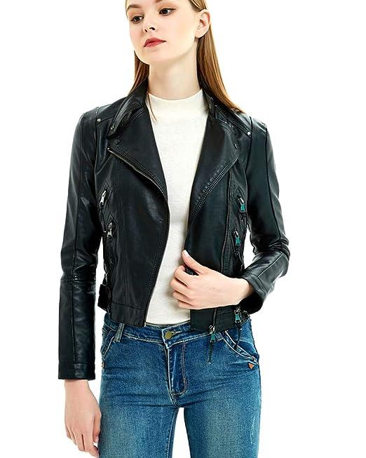 Chaquetas Mujer Moto Vintage Manga Larga Slim Fit Cortas Motorista Chaquetas Cuero De PU Chaqueta Jacket Outerwear: Amazon.es: Ropa y accesorios