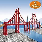 FLASH SALE   Premium Double Suspension Bridges Wooden Train Tracks Compatible To Thomas Brio Set. Educational Engineering Construction Red Bridges – 2 Pieces