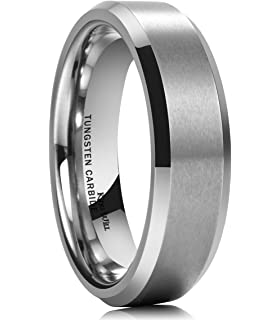 king will basic 6mm wedding band for men tungsten carbide engagement ring comfort fit beveled edges - Tungsten Carbide Wedding Rings